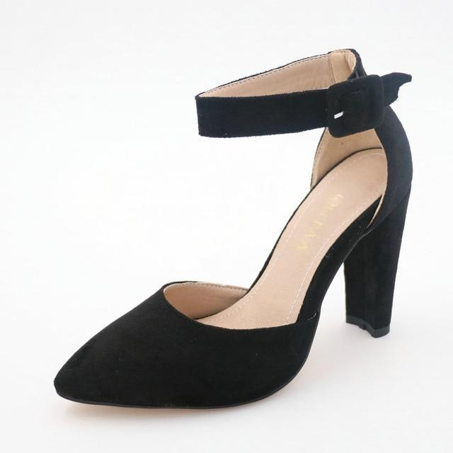 Heel Pointed Ankle Strap Pumps - MiKlah