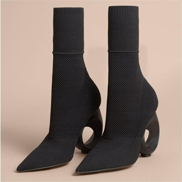 Stretch Knit Sock Boots - MiKlah