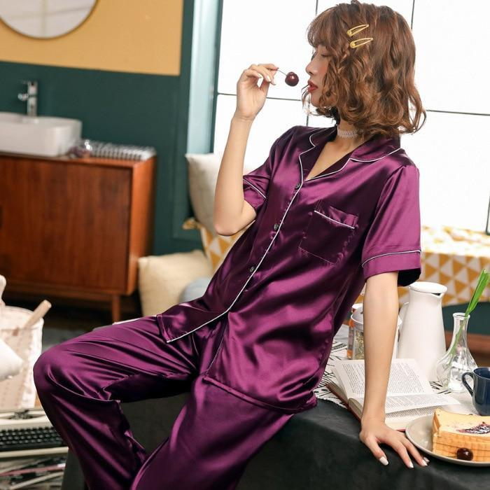 Silk Short Sleeve Pajamas Sets - MiKlah