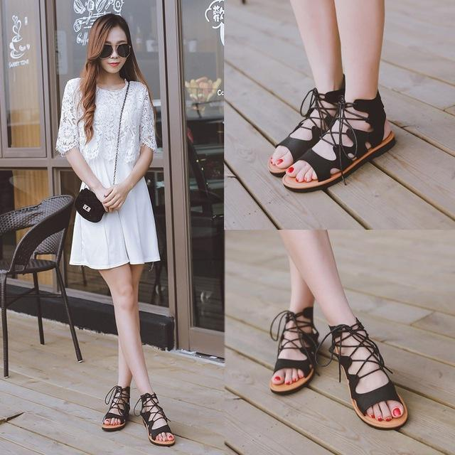 MIK  Hollow Out Cross Tied Open Toe Rome Sandals - MiKlah