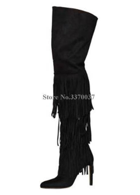 MIK Pointed Toe Leather Over D Knee Tassels Boots - MiKlah