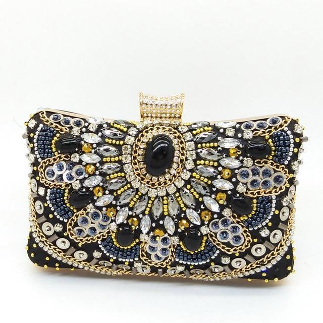 MIK Satin Diamond Crystal Day Clutches - MiKlah