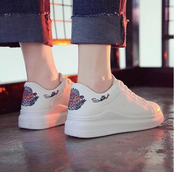 MIK Embroidered Breathable Hollow Lace-Up Sneakers - MiKlah