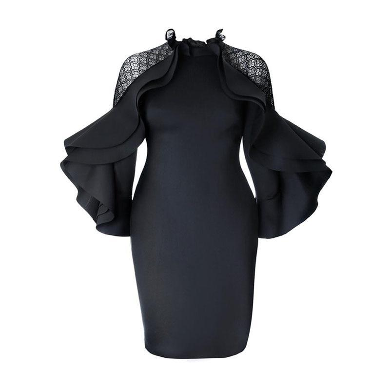 MIK Elegant long Sleeve Falbala Ruffles Dress - MiKlah