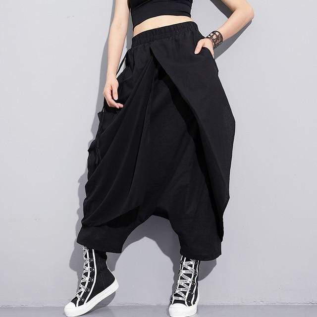 Bandage Stitch Loose Cross-pants - MiKlah