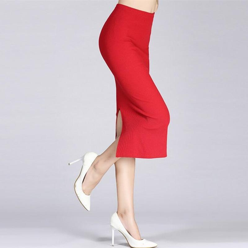 MIK Formal High Waist Knitted Cotton Pencil Skirts - MiKlah