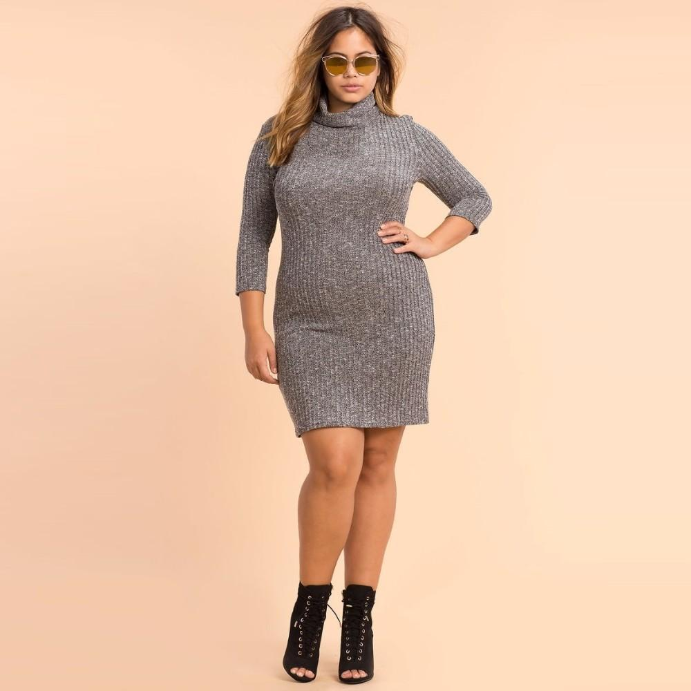 MIK Knitted High Neck Casual Dress - MiKlah