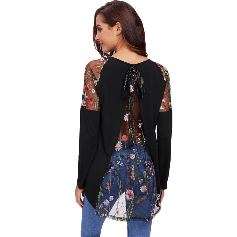 Lace Shoulder Back Long Sleeve T-Shirt - MiKlah