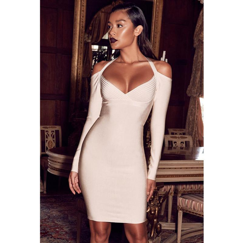 MIK Long Sleeve Off The Shoulder Rayon Bandage Dress - MiKlah
