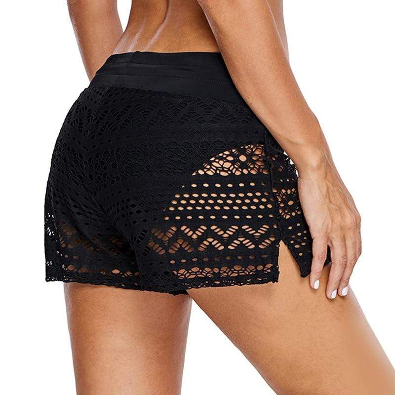 Hollow Out Lace Swim Shorts - MiKlah