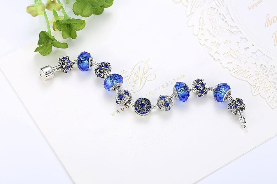 Blue Crystal Friendship Charm Bracelets - MiKlah
