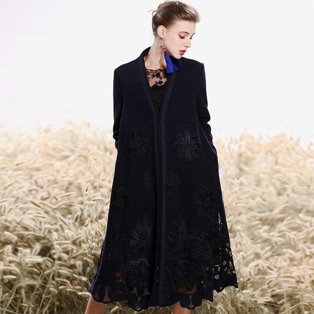MIK High-end  Floral Wool Embroidery Overcoat - MiKlah