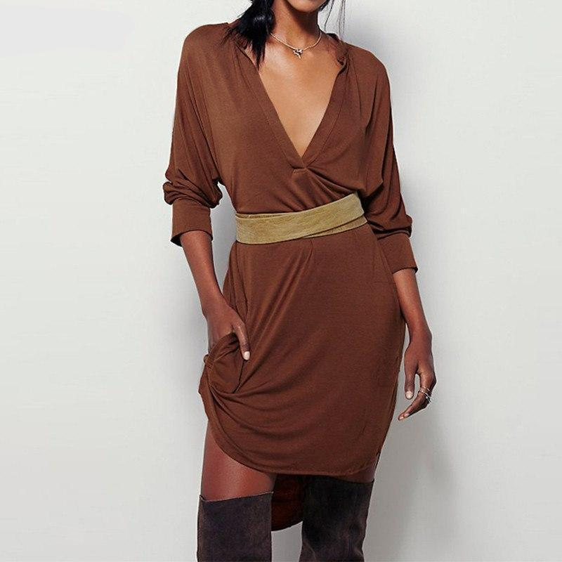 MIK Elegant Deep V Solid Loose Dress - MiKlah