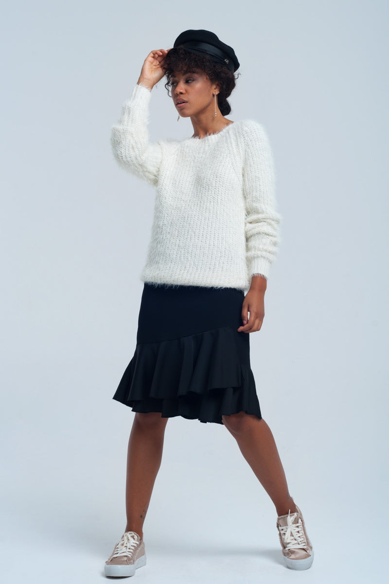 Cream Knit Sweater - MiKlah