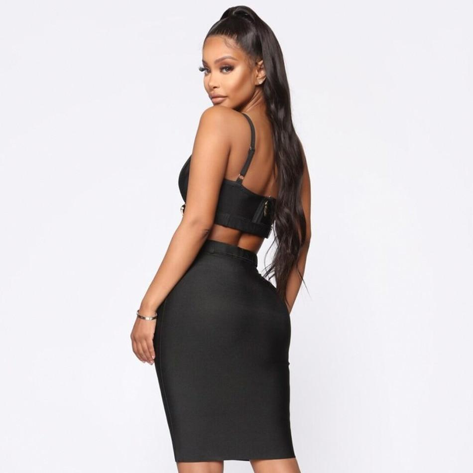 Deep V Crop Top Skirt Set - MiKlah