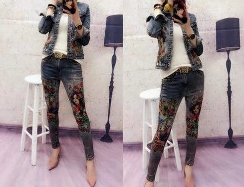 Flowers Print Denim Pants Suit - MiKlah