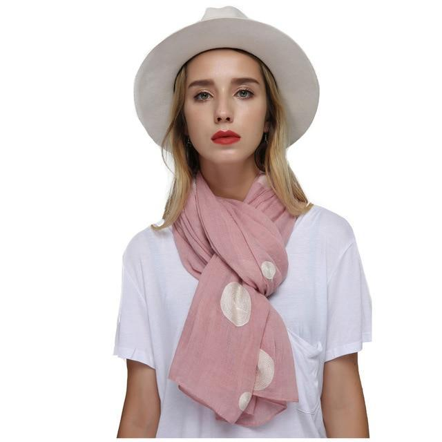 Embroider Cotton Long Polka Dot Shawl - MiKlah