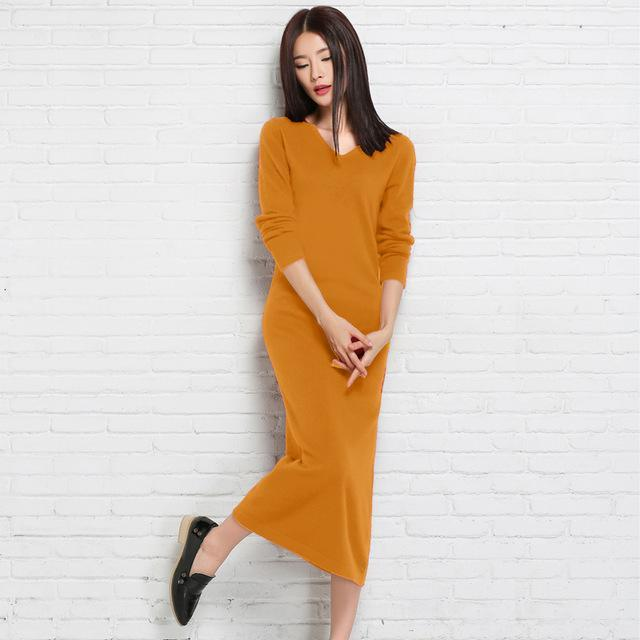 Cashmere Pullovers Sweater Dresses - MiKlah