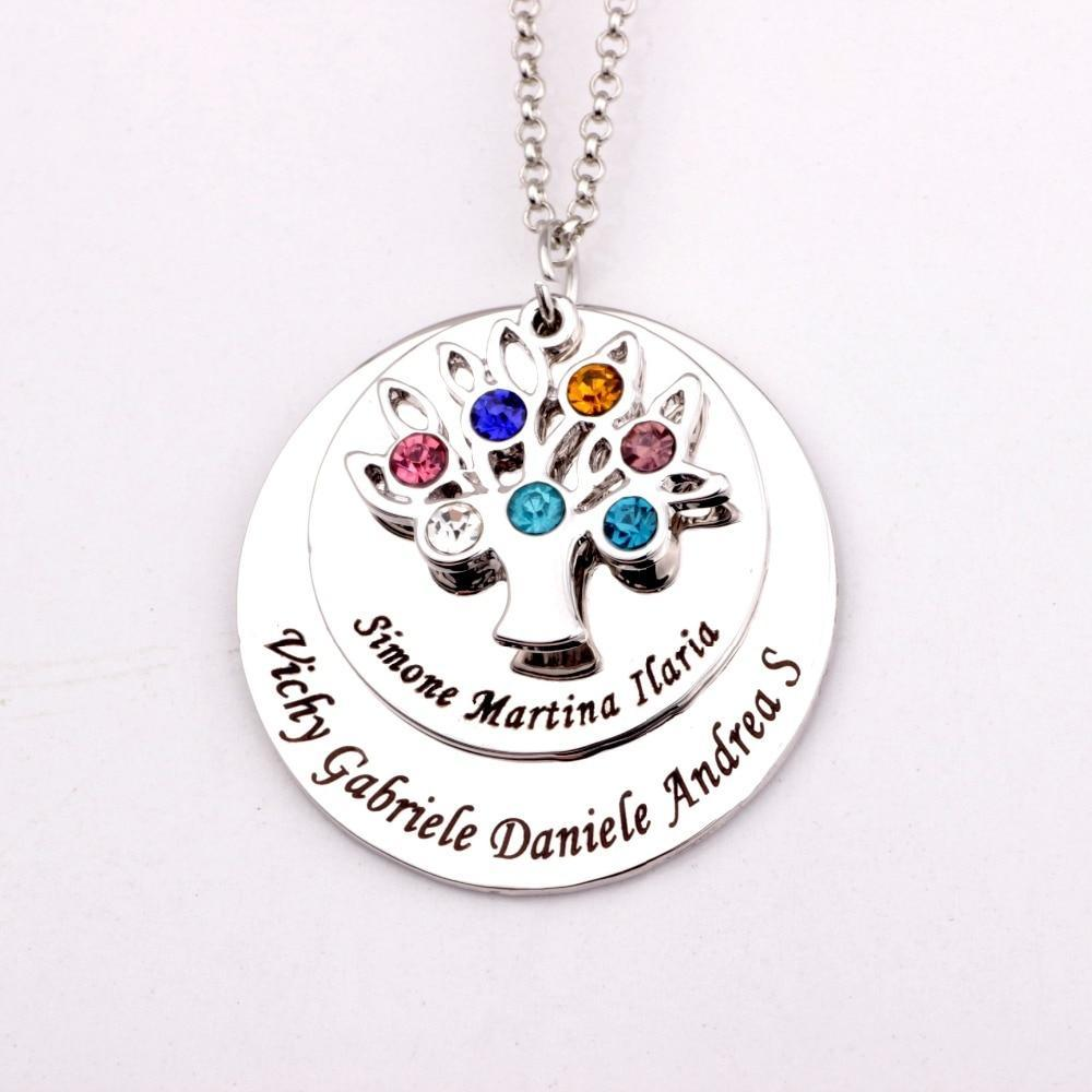MIK Personalized Family Tree Pendant Necklace with Birthstones - MiKlah