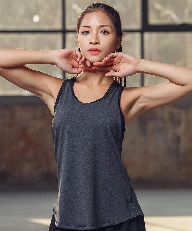 Workout Top With Sports Bra - MiKlah