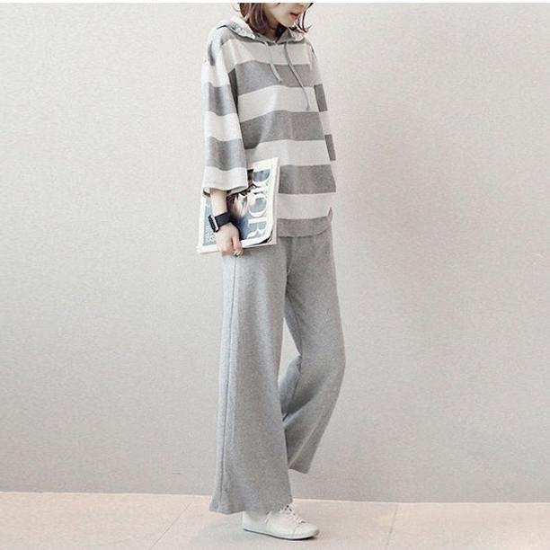 MIK O-Neck Hoodies Top With Wide Leg Pants - MiKlah