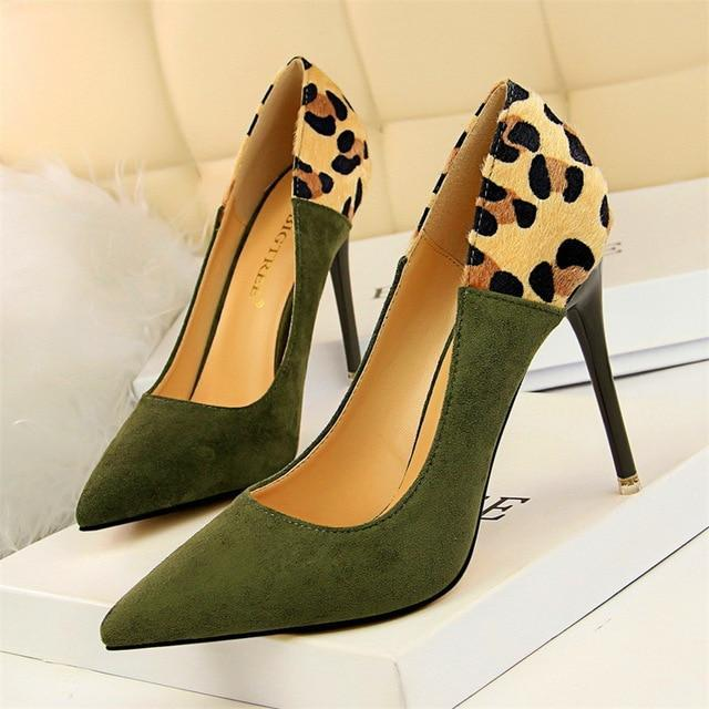 MIK Leopard Spliced Flock High Heels - MiKlah