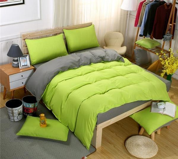 Double-Sided Duvet Sets-Green Grey - MiKlah