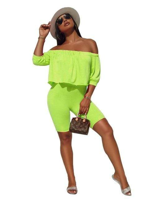 Off Shoulder Shorts Set - MiKlah