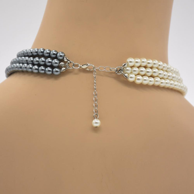 MIK Two Tone Pearl Necklace - MiKlah