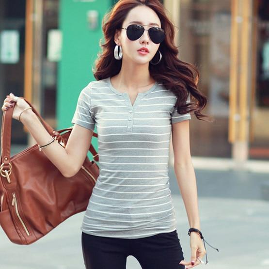 V-neck Striped T-Shirts - MiKlah