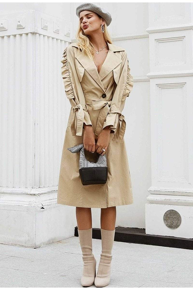 MIK Elegant V Neck Khaki Long Trench Coat - MiKlah