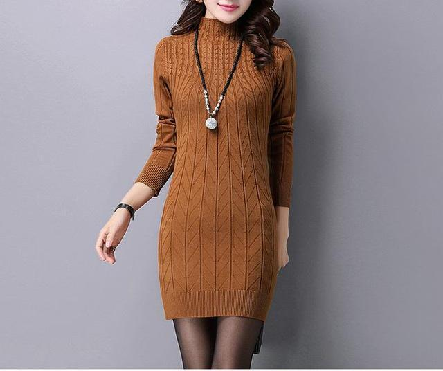 MIK High Quality Knitted Stand Collar Sweater Dresses - MiKlah