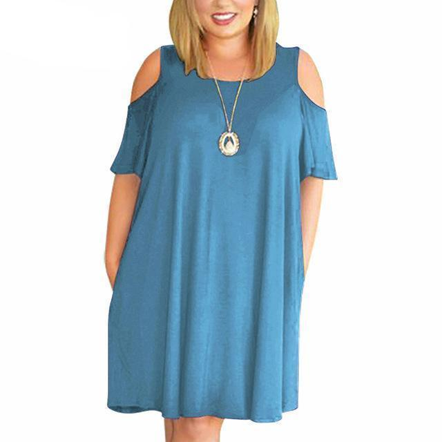 MIK  O-neck Off The Shoulder Plus Size Dress - MiKlah