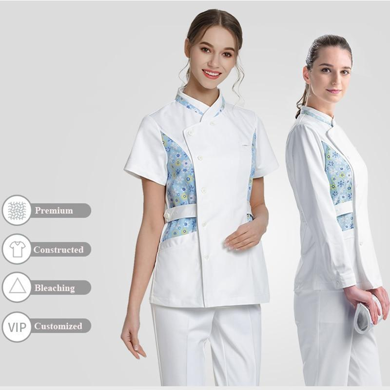 MIK Daisies White Medical Scrubs Top - MiKlah