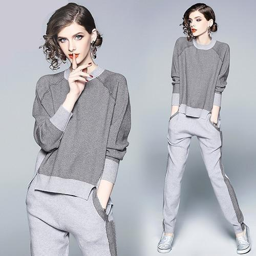 MIK Dark & Light Gray Pants Set - MiKlah