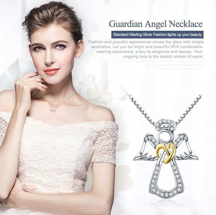 MIK Guardian Angel Heart Pendant Necklaces - MiKlah