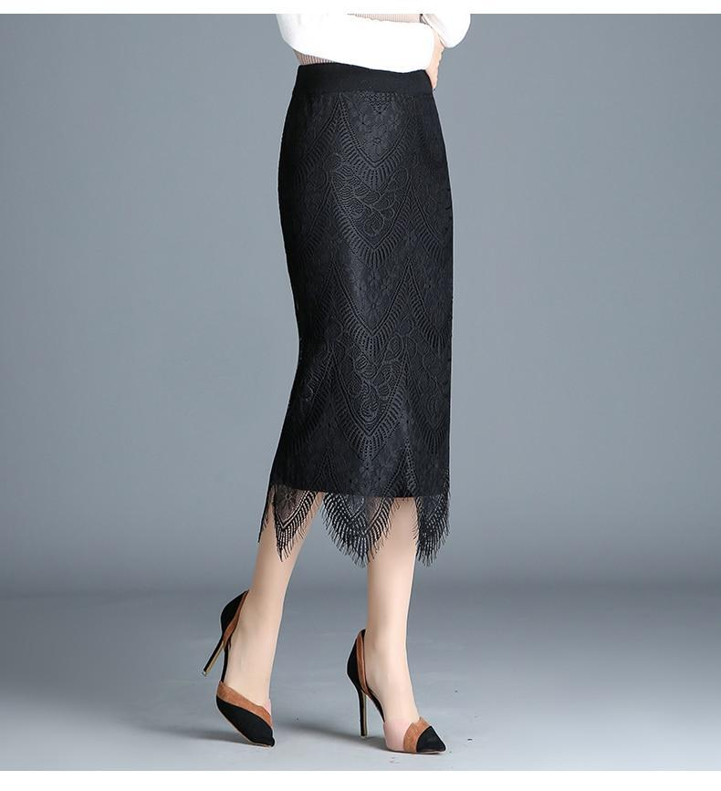 MIK Pencil Warm Knitted Lace Reversible Skirt - MiKlah