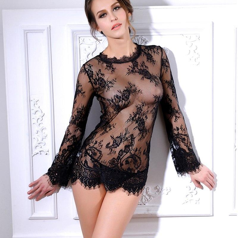 Transparent Long Sleeve Babydoll+G string - MiKlah