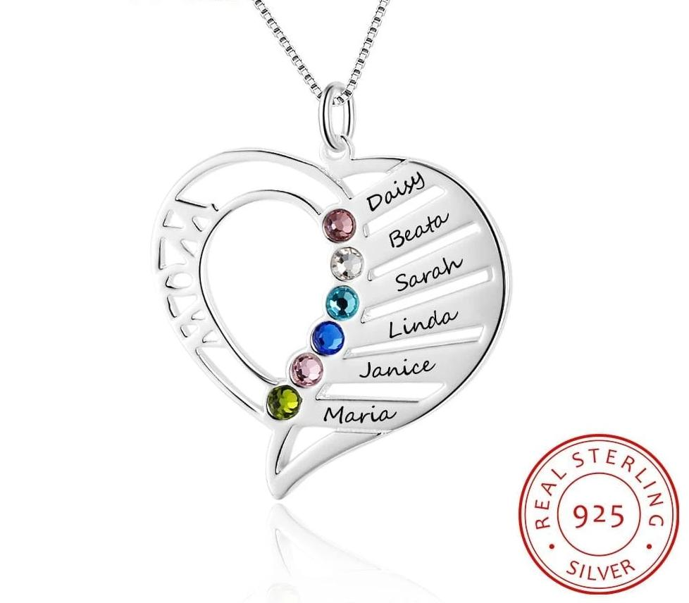 Personalized Birthstone Heart Necklace - MiKlah