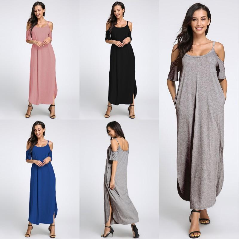MIK Off Shoulder Split Long Maxi Dress - MiKlah