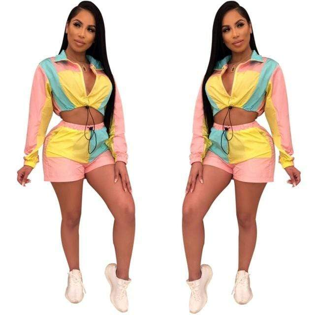 Patchwork Crop Top Short Set - MiKlah