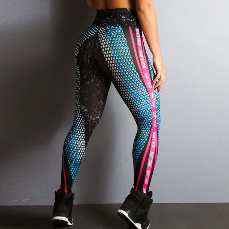 MIK Honeycomb Letter Printed Fitness Leggings - MiKlah