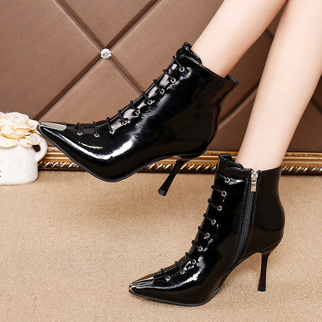 OUT Patent Leather Boots - MiKlah