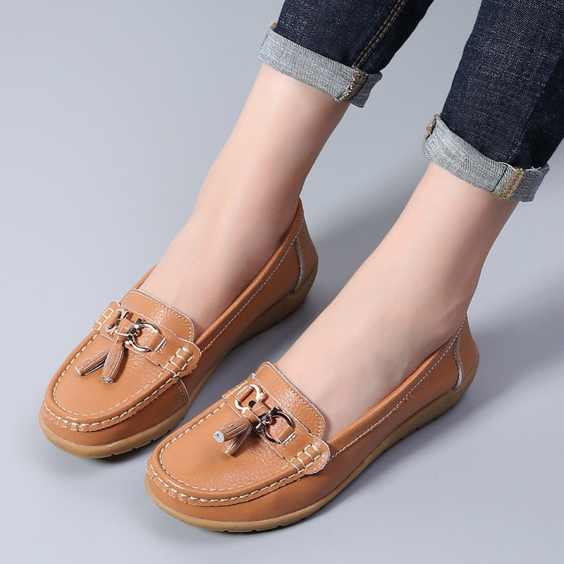 Relay Genuine Leather Moccasins - MiKlah