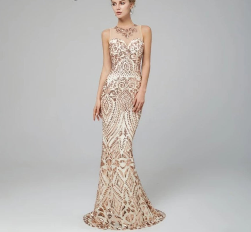 OneUP Sequined Evening Dress - MiKlah