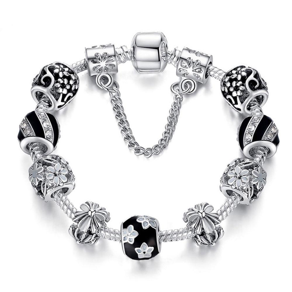 925 Silver Crystal Beads Charms Bracelet - MiKlah