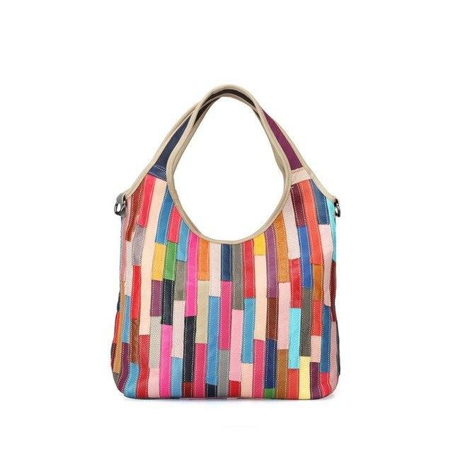 MIK STRIPED PATCHWORK GENUINE LEATHER HOBO - MiKlah