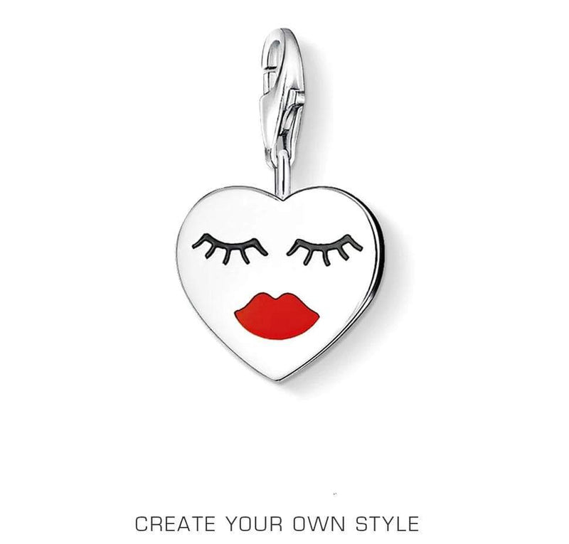 Red Lips Heart Lobster Clasp Charm - MiKlah