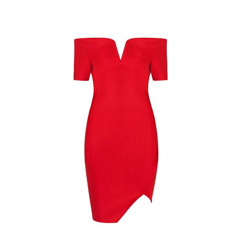 MIK Celebrity High Quality Red Bodycon Bandage Dress - MiKlah