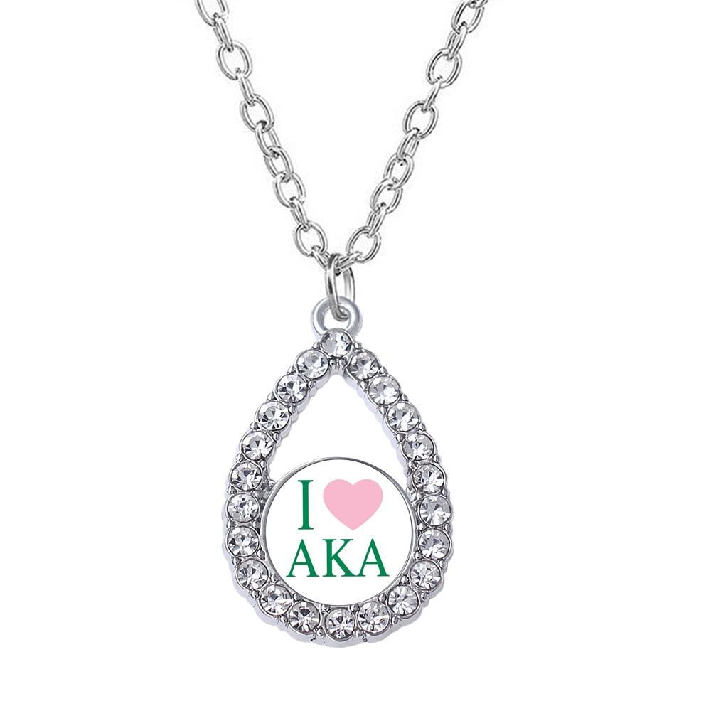 I LOVE AKA Label Rhinestone Necklace - MiKlah
